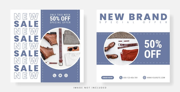 Fashion social media post or flyer template in square banner with pastel color scheme