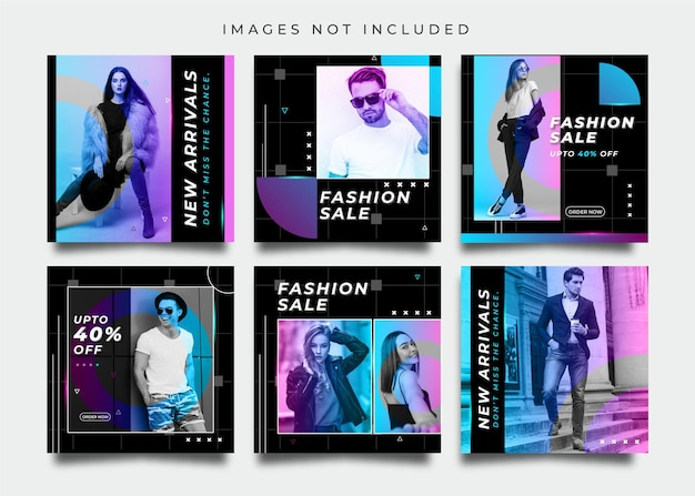 Fashion social media post set template with neon color