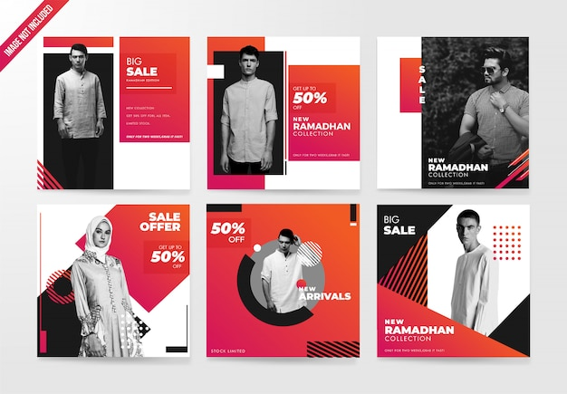 Fashion social media post template banner set