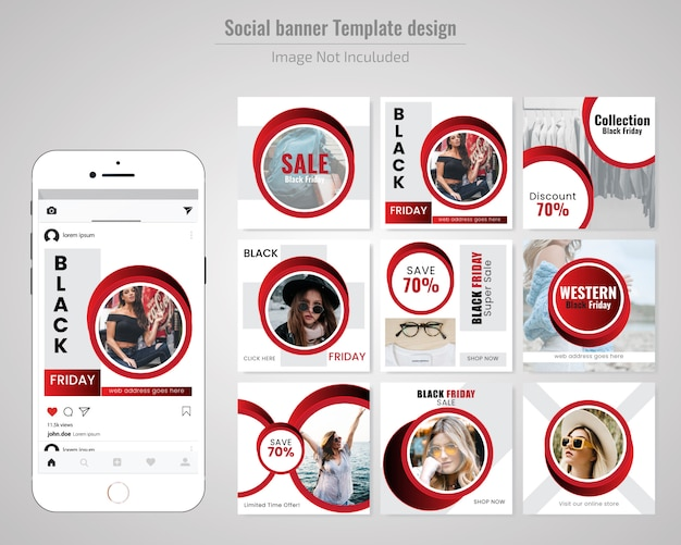 Fashion social media post template for black friday