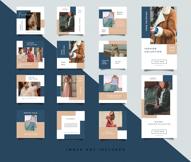 Fashion social media post template collection