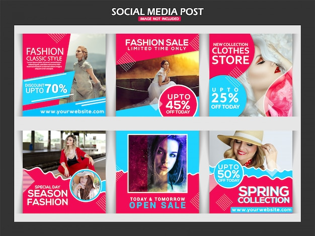 Fashion social media post template design