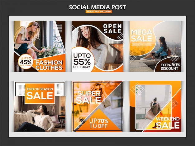 Fashion social media post template design