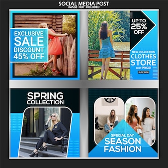 Fashion social media post template premium square banner set