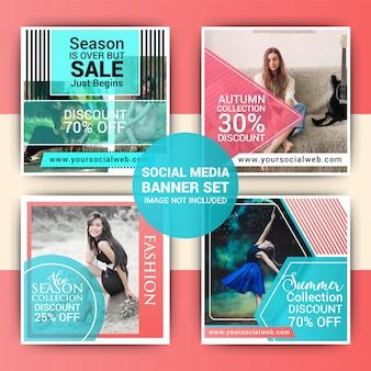 Fashion social media post template set