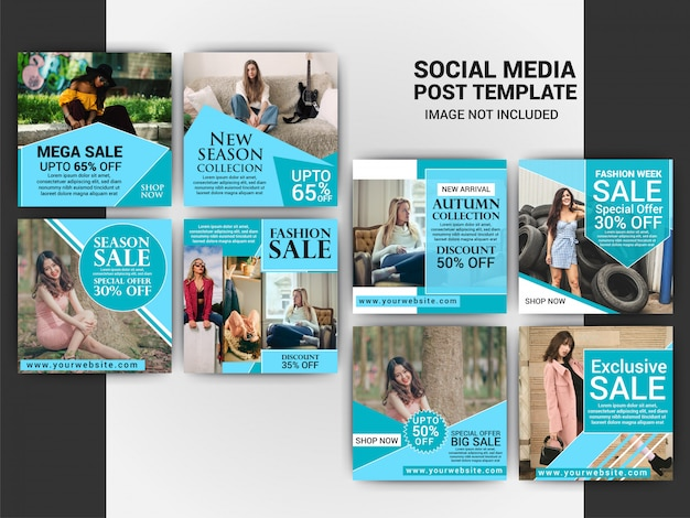 Fashion social media post template set