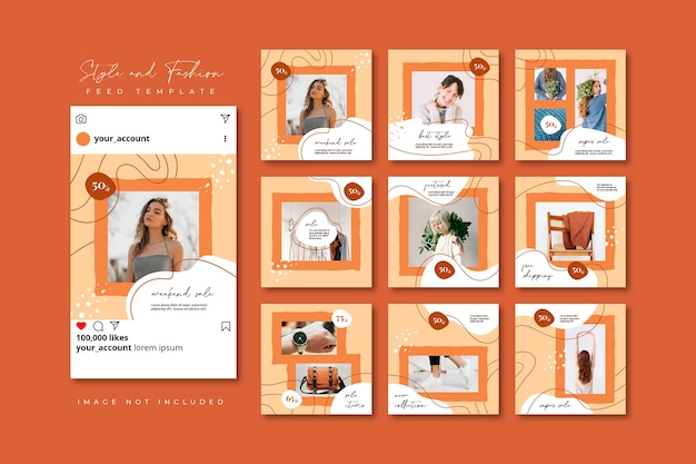 Fashion social media puzzle collage post feed template collection