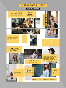 Fashion social media puzzle template