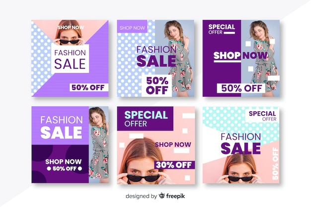 Fashion social media sales banners collection
