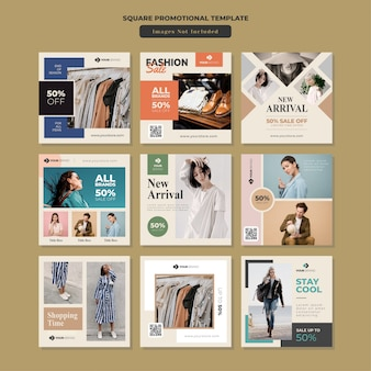 Fashion social media square promotional template