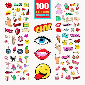 Fashion stickers and badges with lips