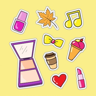 Fashion stickers and food as a lifestyle illustration design