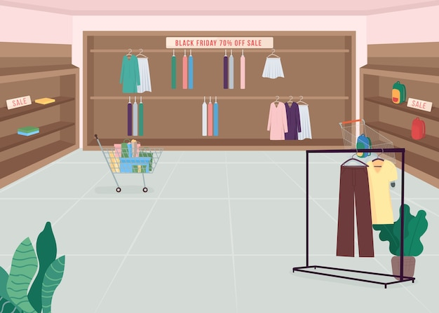 Fashion store on black friday flat color illustration. shopping spree during seasonal sale. special offer. promotional campaign. boutique 2d cartoon interior with clothes on background