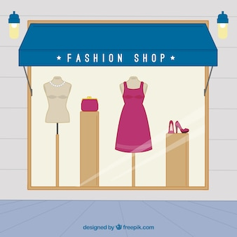 Fashion store with female clothes