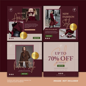 Fashion and style square banner for instagram post template