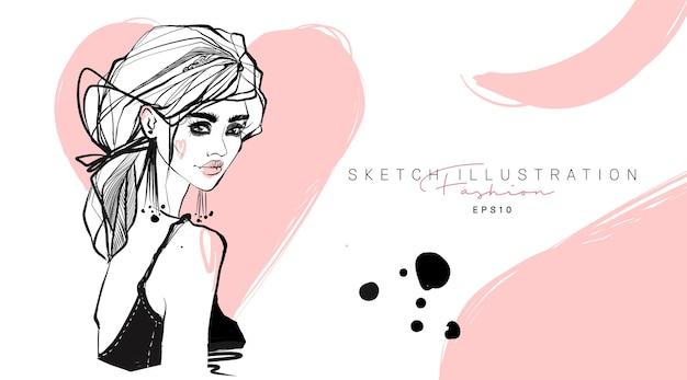 ファッションスタイリッシュな女の子の手描きスケッチ