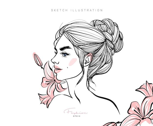 Мода стильная девушка рисованной эскиз