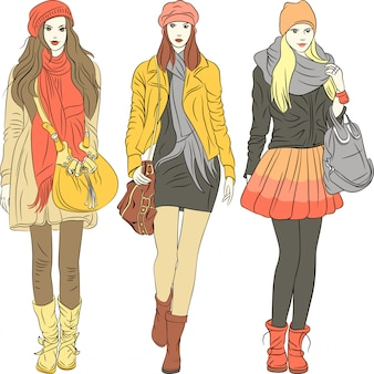 Fashion stylish girls in warm clothes illustration