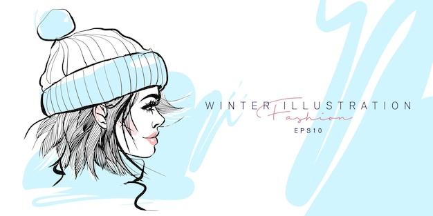 Fashion stylish winter girl hand drawn sketch.