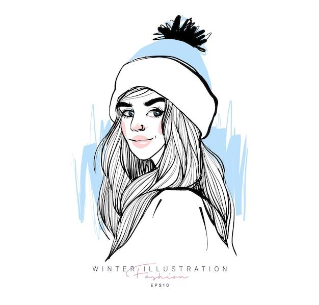 Fashion stylish winter girl hand drawn sketch