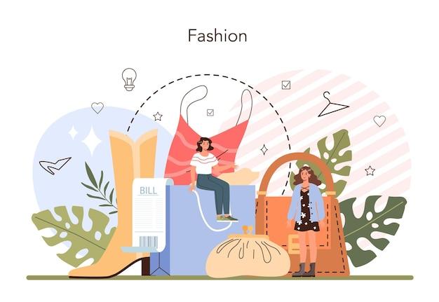 ファッションスタイリストのコンセプト。モダンでクリエイティブな仕事、プロのファッションと美容業界のキャラクター。パーソナルスタイリストと買い物客のサービス。フラットベクトルイラスト