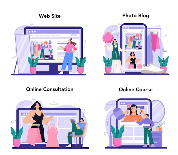 Fashion stylist online service or platform set. fashion and beauty industry worker. personal stylist and shopper service. online consultation, course, photo blog, website. flat vector illustration