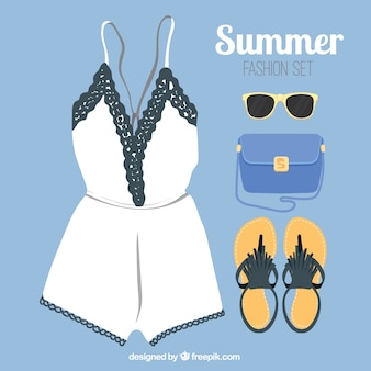 Fashion summer clothes with accessories
