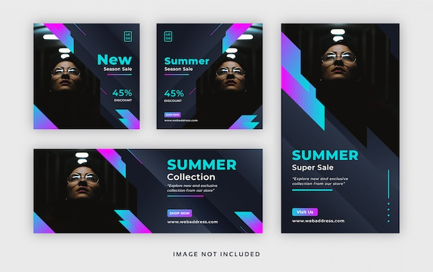 Fashion summer social media post web banner with facebook cover & instagram story