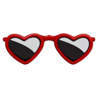 赤いプラスチックフレームハート形のファッションサングラス