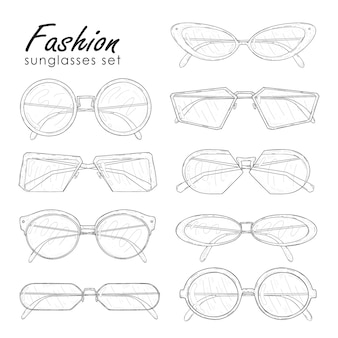 Fashion sunglasses set. hand drawn glasses collection vintage, modern and futuristic