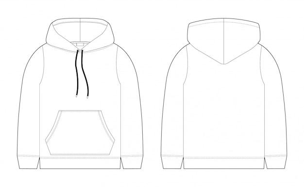 メンズパーカーのファッションテクニカルスケッチ。正面および背面図テクニカルドローイング子供服。スポーツウェア、カジュアルな都会的なスタイル。