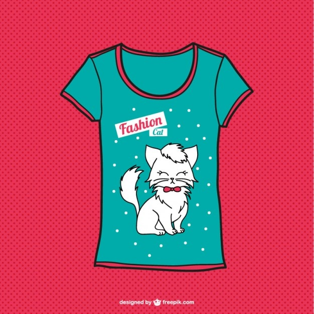 Fashion tee with a white cat