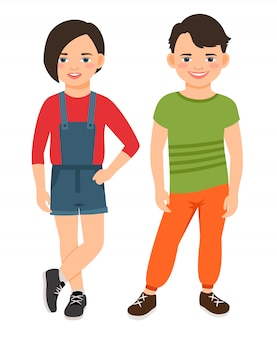 Fashion teen boy and girl characters isolated. teenage high school smiling children vector illustration