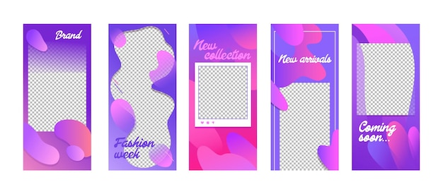 Fashion templates set in fluid style. modern unique backgrounds design for social media stories banners and digital marketing advertising summer promotion, ad newsletter layouts.vector illustration.
