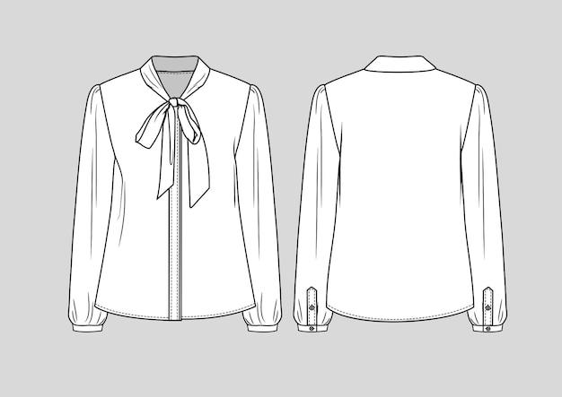 ファッションネクタイネック長袖シャツ分離技術