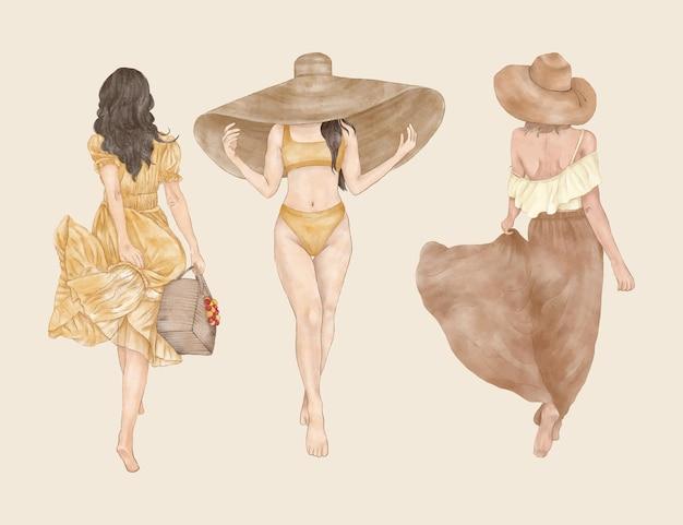 帽子バッグと夏のドレスとファッション旅行の女の子