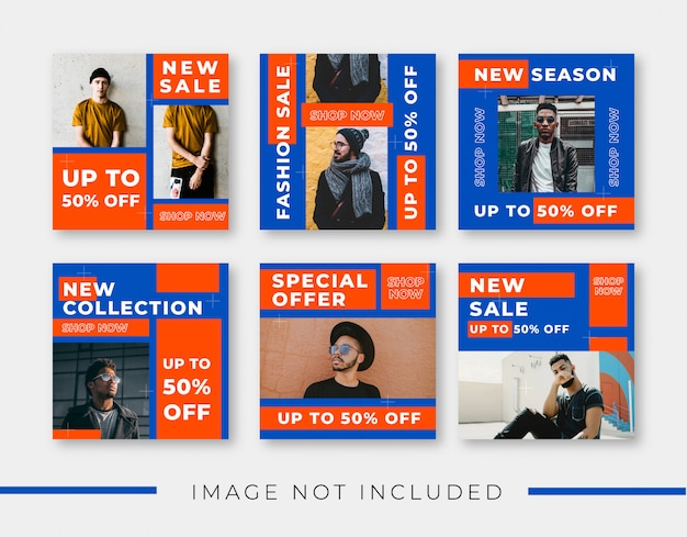Fashion trend social media post template collection