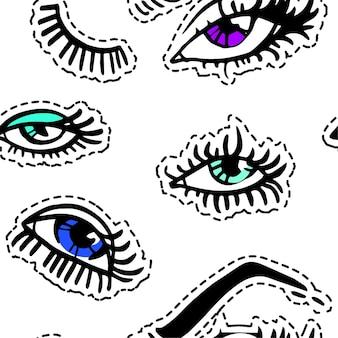 패션 트렌드와 메이크업, 다른 눈동자 색의 매끄러운 패턴의 여성 눈. 모델용 속눈썹과 눈썹, 화장품 및 마스카라. 매력적인 여성의 신체 부위, 평면 스타일 배경 벡터