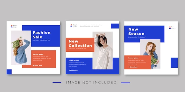Fashion trends banner template for instagram post collection
