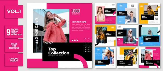 Fashion trends banner template instagram post collection