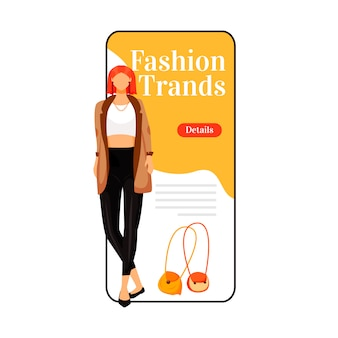 Fashion trends cartoon smartphone app screen. catwalk model style. new designer outfits. mobile phone display with flat character design  . designer clothes application telephone interface