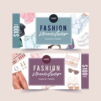 Fashion voucher design with accessories and outfit watercolor illustration.