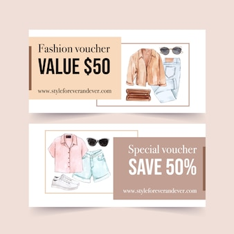 Fashion voucher design with coat, bag, jeans, sunglasses, shoes watercolor illustration.