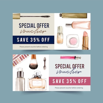 Fashion voucher design with cosmetics watercolor illustration.