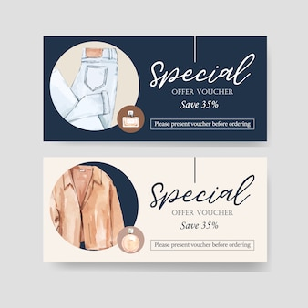 Fashion voucher design with jeans, coat watercolor illustration.