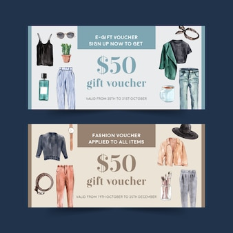 Fashion voucher design with outfit, accessories watercolor illustration.