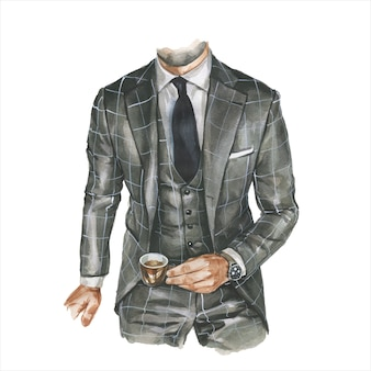 Fashion watercolor illustration of man in business casual outfit with cup of coffee in hand. hand drawn painting of elegant suit. luxury look