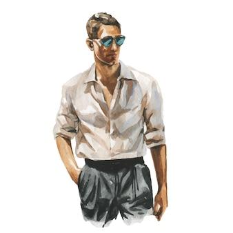 手に一杯のコーヒーとビジネスカジュアルな服装の男のファッション水彩イラスト。エレガントなスーツの手描きの絵。高級感