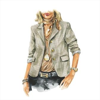 手にコーヒーのカップを持つビジネスカジュアルな服装の女性のファッション水彩イラスト。エレガントなスーツの手描きの絵。高級感