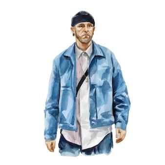 세련 된 최신 유행 복장에서 젊은 남자의 패션 수채화 그림. 남성 hipster 모습의 손으로 그린 된 스케치입니다. 도시 거리 스타일.